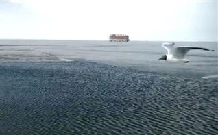 气温转暖青海湖迎来开湖奇观