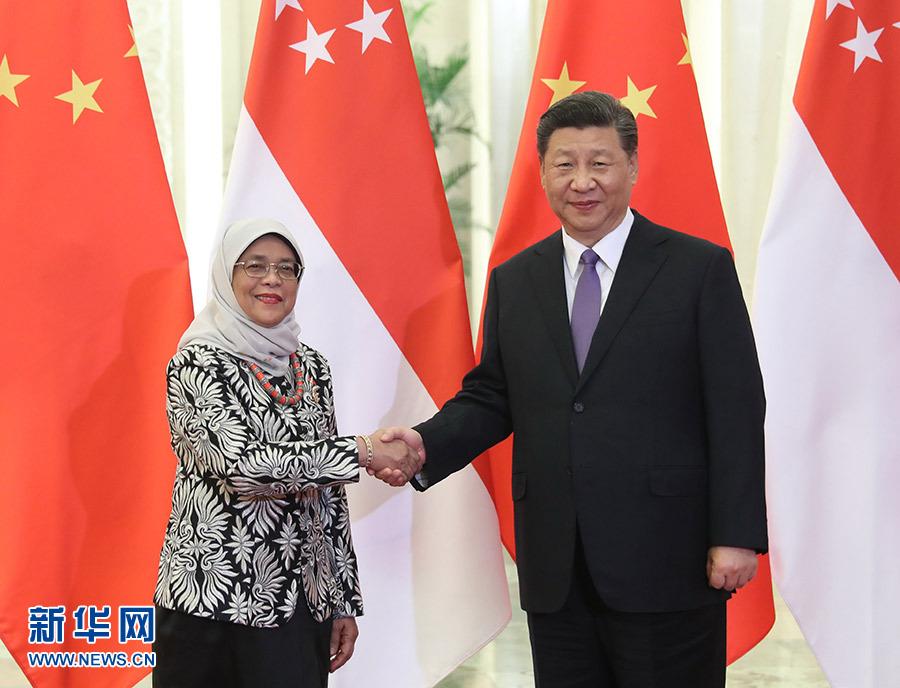 习近平会见新加坡总统哈莉玛