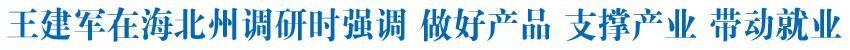 王建军在海北州调研时强调做好产品 支撑产业 带动就业