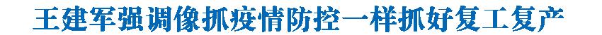 王建军在民和县调研时强调 像抓疫情防控一样抓好复工复产