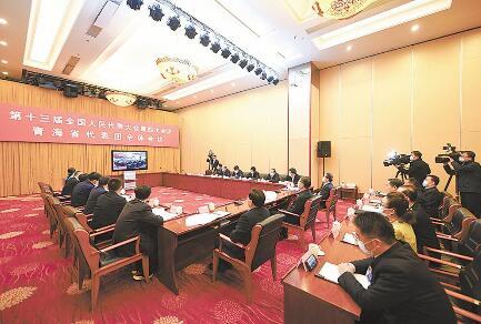 出席十三届全国人大四次会议的青海代表团集中收看中央电视台《新闻联播》并举行全体会议