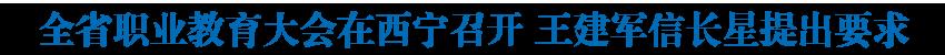 全省职业教育大会在西宁召开 王建军信长星提出要求